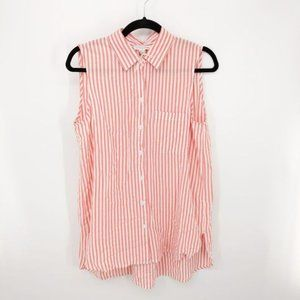 Beach Lunch Lounge Coral Sleeveless Striped Tunic